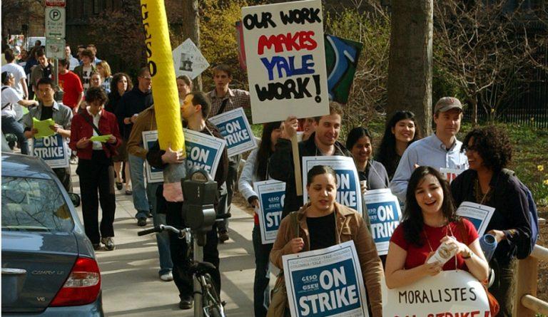 Φοιτητές διαδηλώνουν υπέρ της συλλογικής διαπραγμάτευσης στο Yale